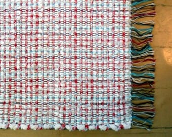 Handwoven Runner with  vintage chenille