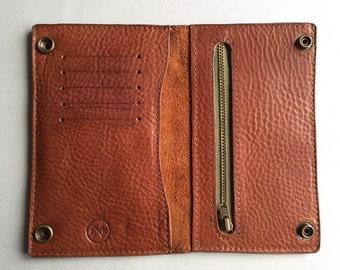 Men's tan brown leather trucker wallet, tan brown leather wallet, tan brown leather biker wallet, personalised gift, tan wallet, card case