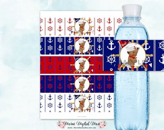 Water Bottle Labels Little Sailor Nautical | Red Navy Blue White Gold | African American Baby Boy | Digital Instant Download
