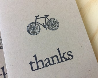 bicycle thank you notes, bicycle note cards, vintage inspired folded note cards and envelopes, thanks, set of 10