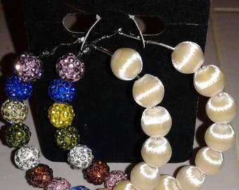 Basketball wives inspired ivory and multi- colored hoop.