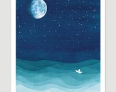 Moon phase print watercolor painting bedroom ocean waves art stars sailboat blue teal starry night nursery nautical wall decor illustration