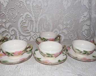 Vintage Franciscan Earthenware Desert Rose Tea/Coffee Cups Saucers Set Of 12 PC.