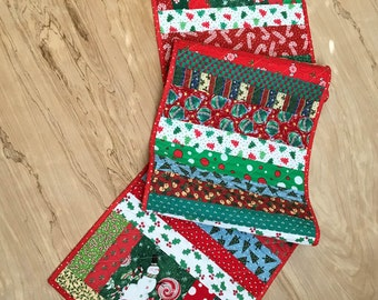 Quilted Christmas Table Runner, Patchwork Centerpiece, Snowman, Santa, Holiday Fabric, Candle Mat, Reversible