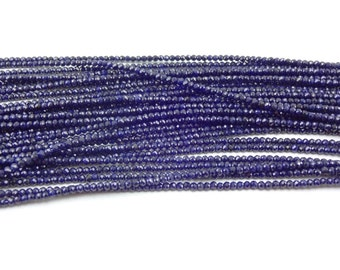 13-inch AAAA quality Natural Blue Sapphire micro faceted beads size 2.5mm GW2688