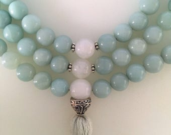 Amazonite and Rainbow Moonstone Mala 108 Beads / Tassel Mala / Aqua Green Prayer Beads