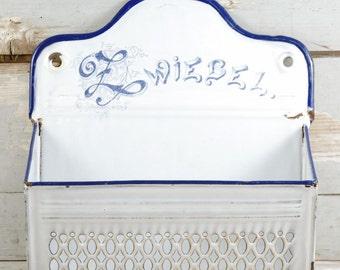 Vintage antique German onion basket Zwiebel  white enamel