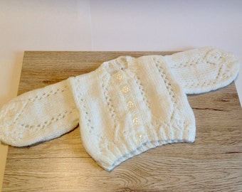 Hand-knitted Baby Vintage style Lacy Cardigan, Baby Cardigan, Baby Knits, Newborn, Reborn Doll, Knitted Baby Clothes, Baby Girl Knits