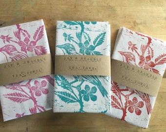 Tea Towel- Jay and Bramble block print