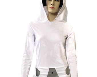 Princess Leia costume with long sleeve athletic shirt,  Leia belt and Leia hair buns