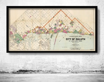 Old map of Duluth Minnesota 1891