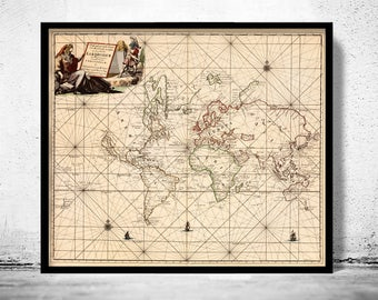 Old Map of The World  1697 Antique map
