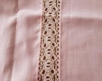 Pink Linen Tablecloth, 47 x 47