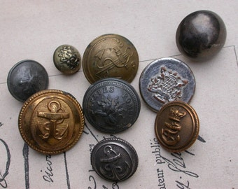 Lot 9pcs large French vintage  gold metal button military button navy anchor  lion coat of arms buttons corwn royal star heart Paris France