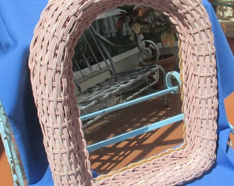 Vintage Pink Wicker Wood Shabby Mirror