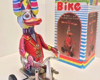 Wind-Up Tin Duck On Bike - Made In China by Blic - With Original Box