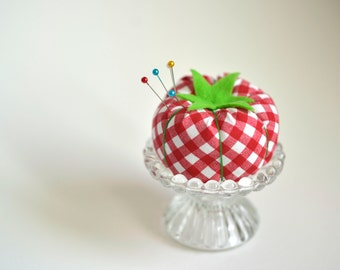 Vintage inspired gingham tomato pincushion with glass stand