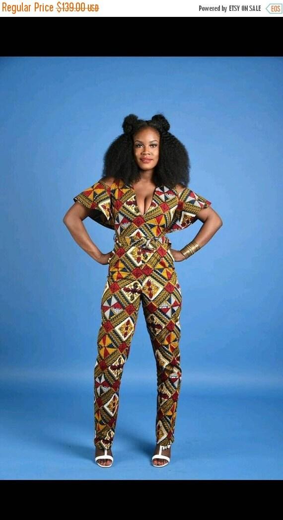 BLACK HISTORY SALE Rita Cape Jumpsuit- African print clothing
