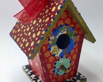 Colorful Red and Blue  Flower Washi Wooden Birdhouse Ornament