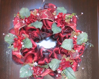Elegant Front Door Wreath, Burgundy Wreath, Romantic Victorian Wreath, Hydrangeas, Floral, Formal Wreath, Romantic Valentine FREE SHIP