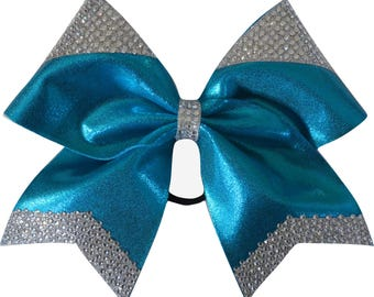 Imperial Rhinestone Turquoise Blue Mystique Cheer Bow