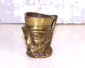 Toby Face Mug Vintage Miniature Brass One Handled Pitcher Miniature Man in Hat Collectible Made in England