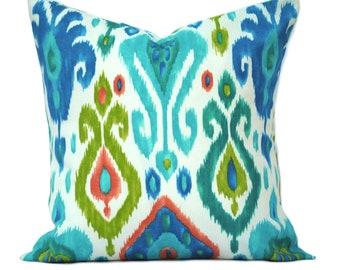 "One ikat  indoor/outdoor pillow cover, 12"", 14"", 16"" 18"" 20"", throw pillow, decorative pillow, Outdoor Pillow, Blue Pillow, Green pillow"