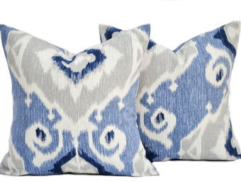 2 Ikat pillow covers, cushion, decorative throw pillow, Blue pillow, accent pillow, Grey pillow, pillow case
