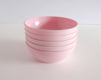 Gerber Pink Baby Food Bowls Lot of 5 Vintage USA