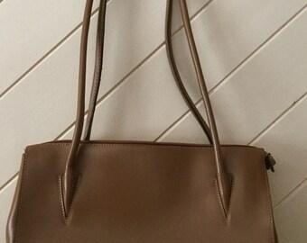 Danier Leather Purse Two Tone Black/Caramel Brown Shoulder Bag CHIC!