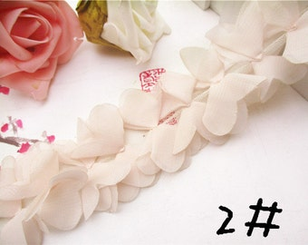 Chiffon Leaves Lace Trim 3D Light Pink Lace 2.55 Inches Wide 1 Yard Wedding Costume Supplies