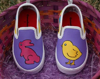 Hand PAINTED EASTER SHOES, Bunny Shoes, Chick Shoes, Toddler and Children Sizes