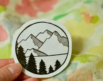 Mountain Lake Views: Laptop Sticker