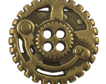 JH98895 or JH98896 or JH98897 or JH98898 or JH98899 or JH98900 - Steampunk Gears Button - Multiple size and finish options