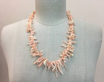 Gorgeous Vintage Pink long natural CORAL BRANCH Necklace
