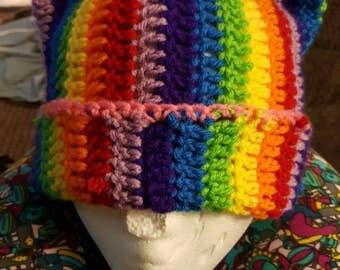 Rainbow kitty hat