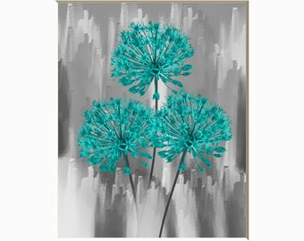 Turquoise Gray Flowers Modern Home Bedroom Bathroom Powder Room Wall Art Matted Picture