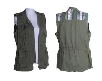 SAFARI JACKET, Military Jacket, Bohemian Army vest, 80's Safarie vest, Vintage army vest,  khaki studded vest, FREE Shipping WolrdWide!