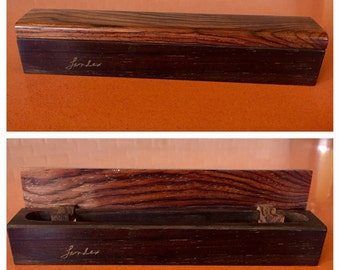 Vintage Individual Travel Humidor Cigar Cigarette Case in Rosewood - Custom Handmade Signed Landes