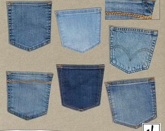 Denim Pockets - Denim Clip Art - Jean Pockets - Digital Jeans - Jeans Clip Art - Instant Download - CU OK