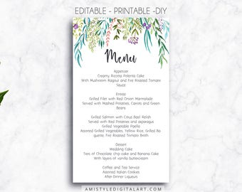 Wedding Menu Printable Leaves DIY Template Card