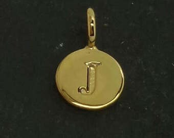 Gold on sterling silver round letter charm J, gold initial J charm,  stamped gold letter charm  , J gold vermeil initial charm