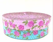 "5/8"" Wide Floral Jacquard Ribbon- Pink or Blue option-Shabby Chic"