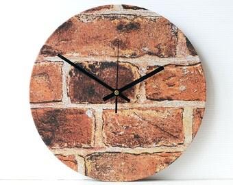 Unique Wall Clock - Decoupage Fabric Wall Clock - Bricks Brick Wall Terracotta Coloured Clock - Recycled Vinyl Record Clock