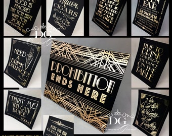 Gatsby Sign - Gold Foil Sign/Picture for any Gatsby event! Customized with any saying or graphics.