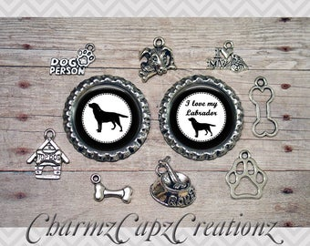 10pc Labrador (Lab) Dog Charm Set/Lot/Collection with Bottle Caps/ Jewelry, Scrapbooking, Crafts /Jewelry and/or Crafting Kit /Choose Images