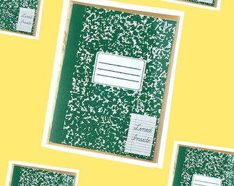 Green Composition Notebook Card Screen Printed