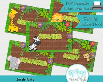 Jungle Party Printable Label Cards (Blank) / Food Labels / Seating Cards / Tent Cards / Etiquetas para Mesa
