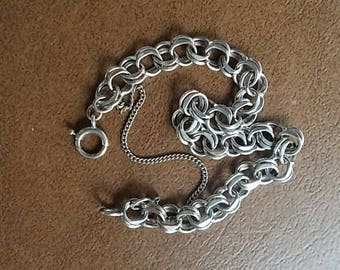 "Vintage~Sterling Silver~Charm Bracelet~Double Link Chain~Safety Chain~NICE~925~Fine Jewelry~1960's~7.5""~STARTER BRACELET~Gift"