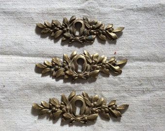 Vintage Antique 1900s French Escutcheon Key Hole Keyhole Covers Brass 3 (three) pieces